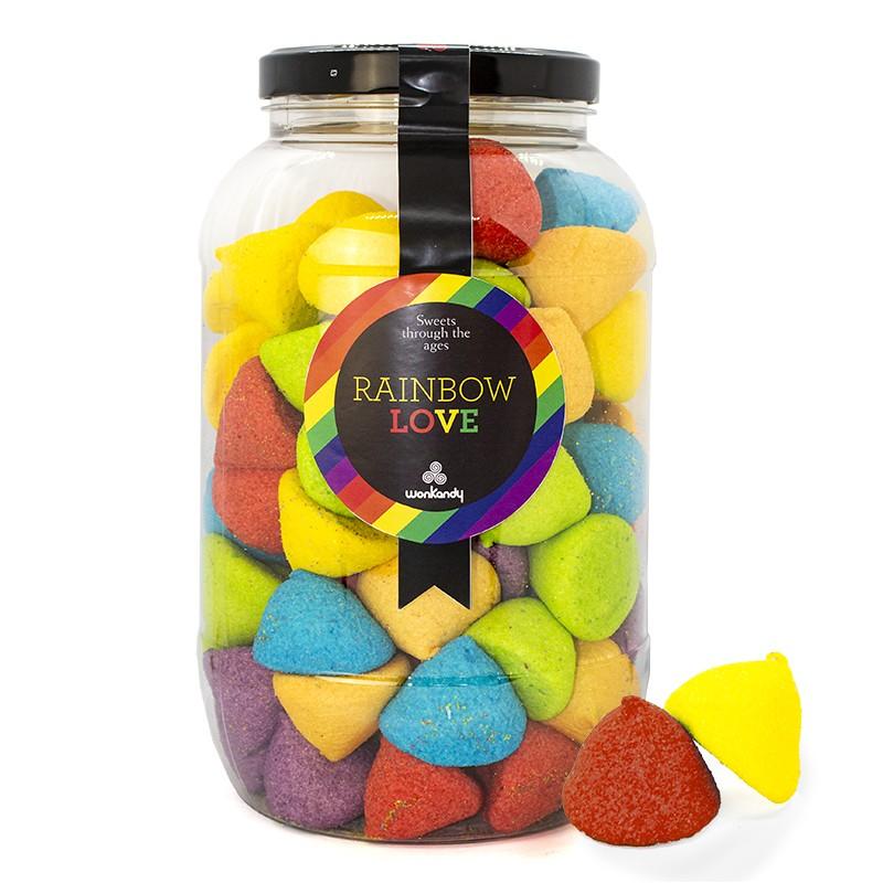 Bote Galón de nubes de azucar Rainbow Arcoiris. Chuches sabores surtidos. Conos.Wonkandy