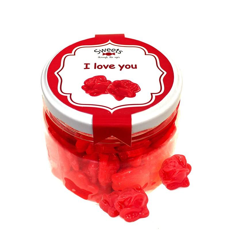 Bote mediano gominolas I love you Rosas sweets through the ages. Chuches sabor fresa. Wonkandy