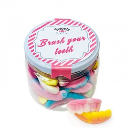 Bote mediano Dentaduras de gominolas Brush Your Teeth. Chuches sabores. Wonkandy