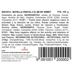 Botella candy Be my Sweet. Gominolas Corazones de Fresa