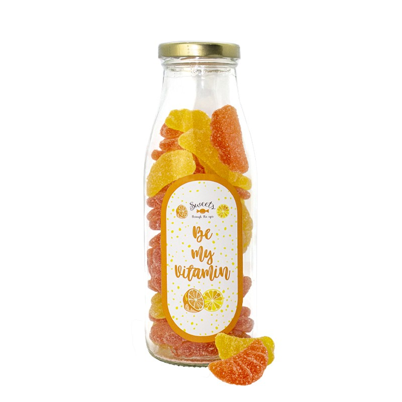 Botella candy Be my Vitamin. Gominolas Gajos Naranja y limon
