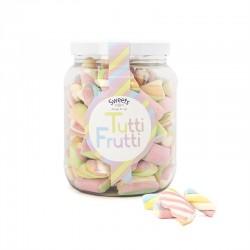 Bote Mediano Nubes de Azúcar Tutti Frutti. Chuches sabor multifrutas sweets through the ages. Wonkandy