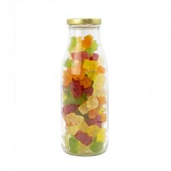 Botella cristal Gominolas osos sin azúcar. Golosinas Wonkandy.
