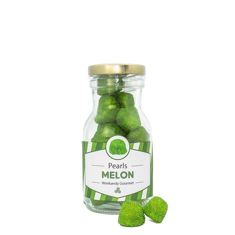 Botella rellena de gominolas crujientes  con forma de Moras. Chuches con sabor a Melón.Wonkandy