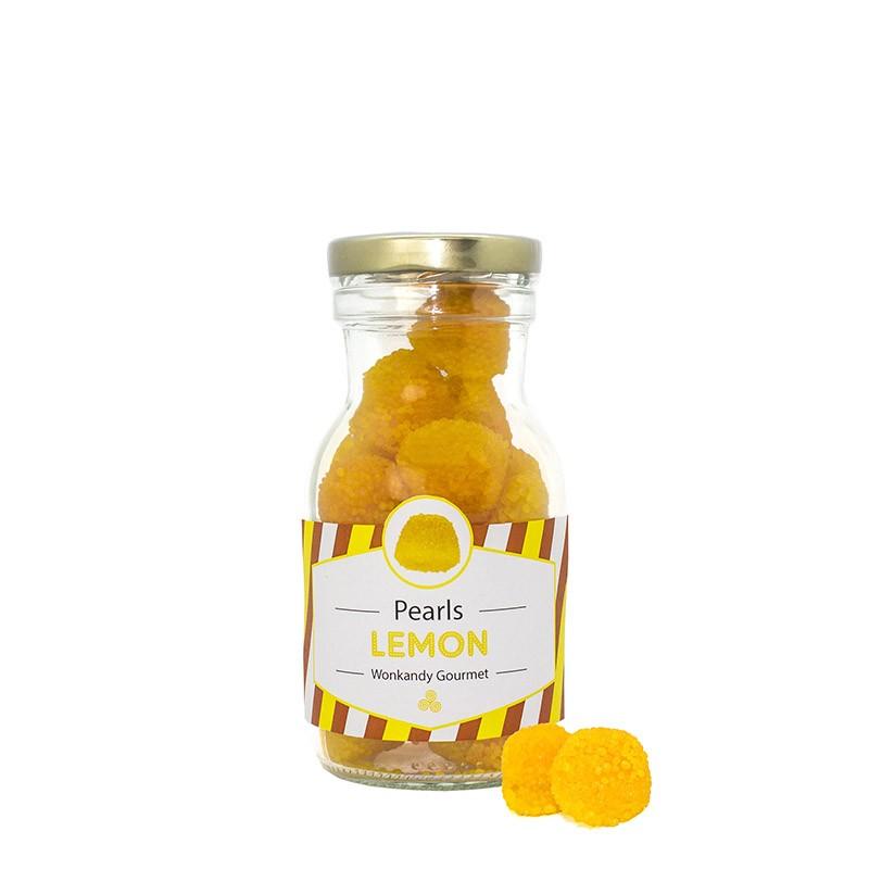 Botella rellena de gominolas crujientes  con forma de Moras. Chuches con sabor a Limón. Wonkandy