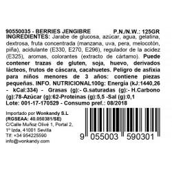 Ingredientes Bote pequeño Gominolas Berries Jengibre. Chuches hechas de fruta 100% natural. Wonkandy