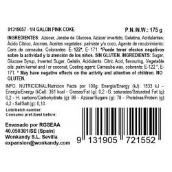 Ingredientes Nubes de Azúcar con forma de botellas Pink Coke Sweets Through the Ages. Chuches sabor Fresa. Wonkandy