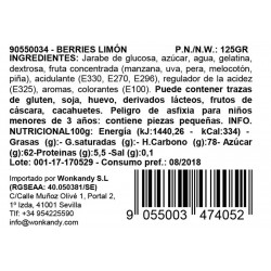 Ingredientes Bote pequeño Gominolas Berries Limón. Chuches hechas de fruta 100% natural. Wonkandy