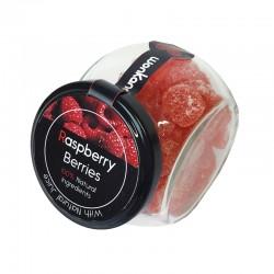 Tarro de cristal relleno de Gominolas Berries sabor Frambuesa. Golosinas Wonkandy