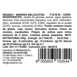 Ingredientes Bote pequeño Gominolas Berries Melocotón. Chuches hechas de fruta 100% natural. Wonkandy