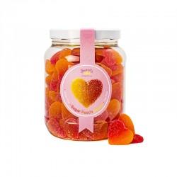 Bote Medio Galón, Sugar Peach Hearts.  Relleno con gominolas en forma de corazón, y sabor a fresa y melocotón