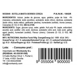 Ingredientes gominolas Berries sabor cereza. Botella pequeña Wonkandy